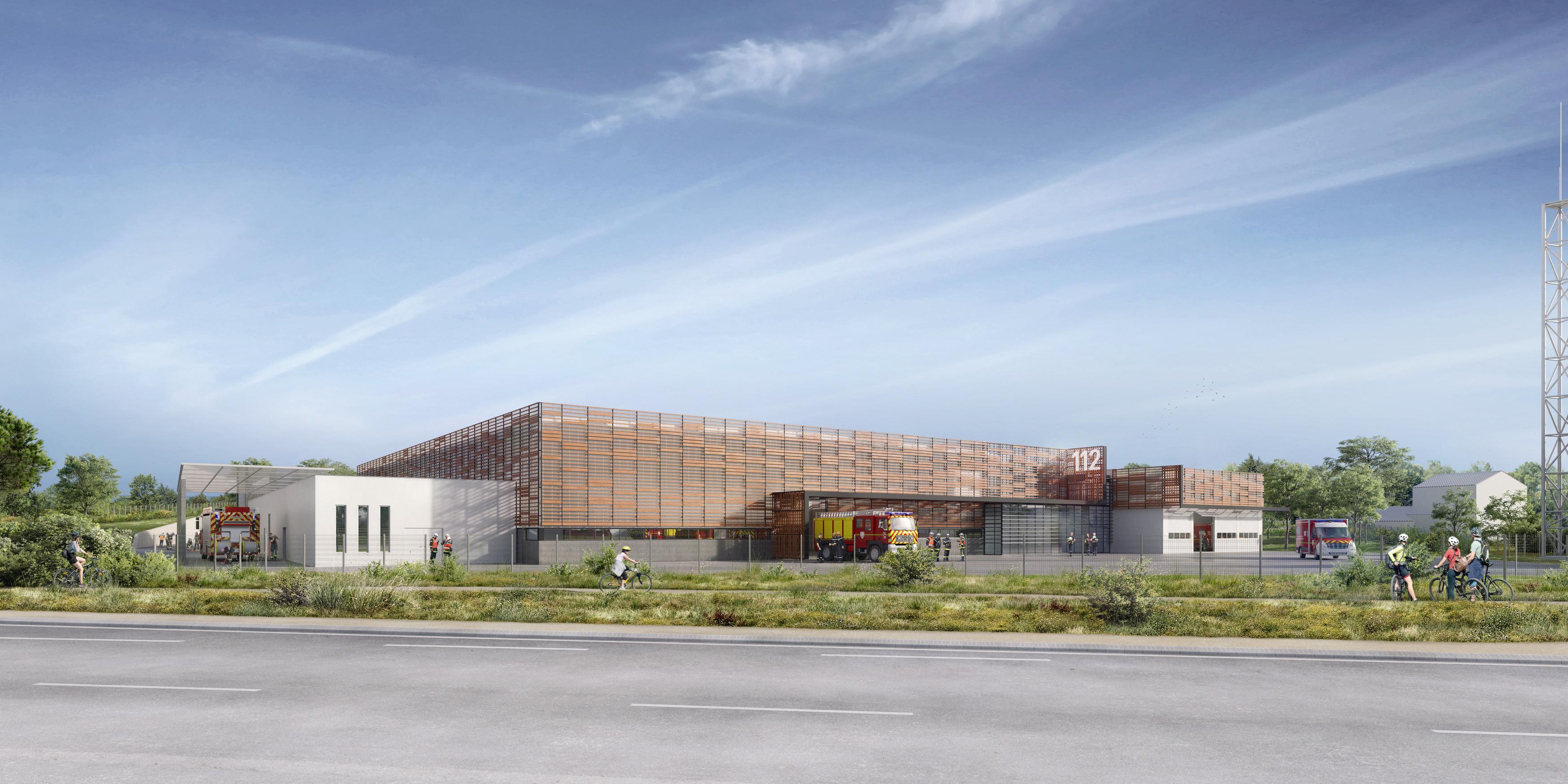BPG & Associés - L2 architectes - concours pompiers - Concours CIS La Rochelle Lagord - image 3D - render - archiviz - image de synthèse