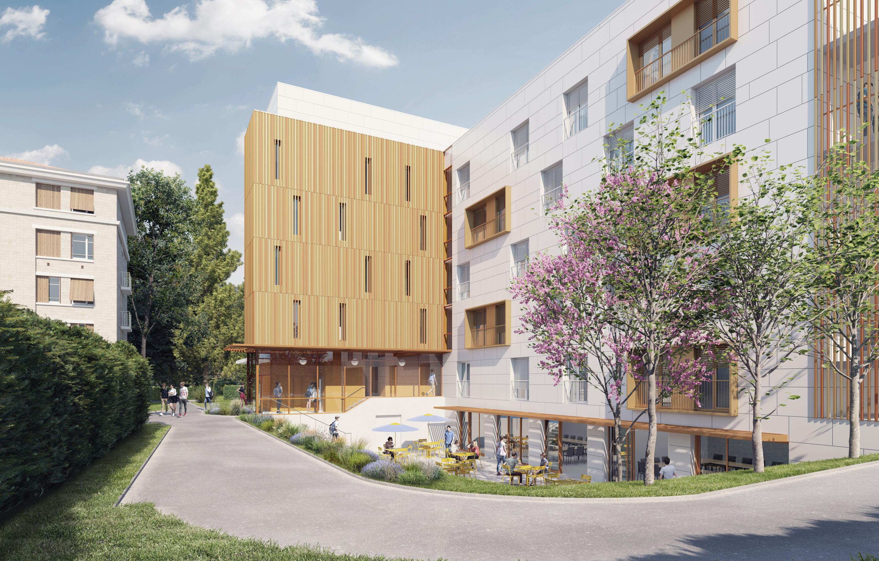 hellin sebbag architecte - concours crous montpellier - résidence - étudiante - image 3D - render - archiviz - image de synthèse